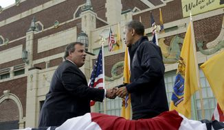 President Barack Obama shakes hands with New Jersey Gov. Chris Christie before speaking outside at Asbury Park Convention Hall ,Tuesday, May 28, 2013 in Asbury Park, New Jersey. Obama traveled to New Jersey to join Christie to inspect and tour the Jersey Shore's recovery efforts from Hurricane Sandy. (AP Photo/Pablo Martinez Monsivais) **FILE**