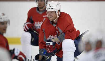 Washington Capitals defenseman John Erskine (4) looks on during NHL hockey training camp, Friday, Sept. 19, 2014, in Arlington, Va. (AP Photo/Nick Wass)