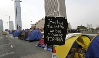 Pro-democracy protesters in Hong Kong (AP Photo/Vincent Yu)