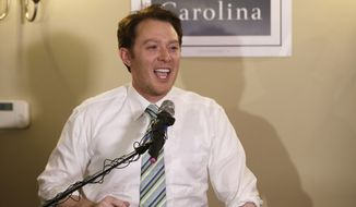 "FILE - In this May 6, 2014 file photo, Clay Aiken speaks to supporters during an election night watch party in Holly Springs, N.C. Eleven years after becoming a national TV sensation, Clay Aiken still attracts a crowd in central North Carolina. Finishing second for Congress won't cut it for the runner-up on the Fox show in 2003 that vaulted him to a singing career and another second-place finish on NBC's ""Celebrity Apprentice."" Rather, he'll just be another Democratic candidate who failed to beat the odds on North Carolina's congressional map since Republicans redrew it and shifted the delegation's makeup to the right.  (AP Photo/Gerry Broome, File)"