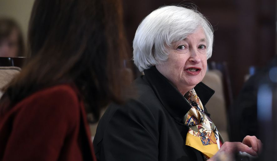 Federal Reserve Chairwoman Janet Yellen speaks during a meeting of the Board of Governors of the Federal Reserve System at the Federal Reserve in Washington, Wednesday, Oct. 22, 2014. The meeting was to discuss a final rulemaking requiring sponsors of securitization transactions to retain risk in those transactions. (AP Photo/Susan Walsh)