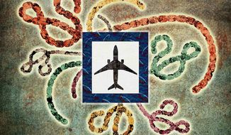 Lonely Ebola Plane Illustration by Greg Groesch/The Washington Times