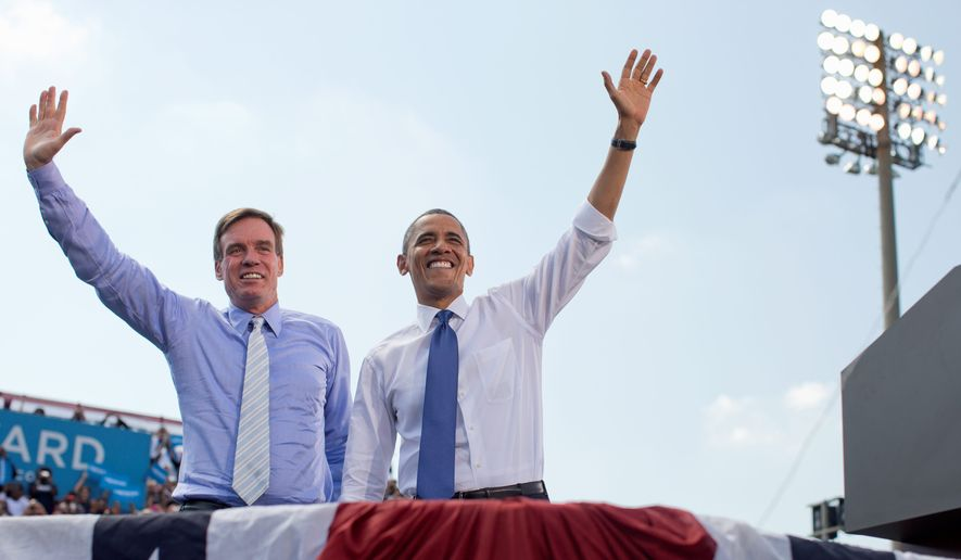 Sen. Mark Warner sided with President Obama 100 percent of the time, according to a review of voting records this year. The rankings, though, were based on a fraction of roll call votes. (Associated Press)