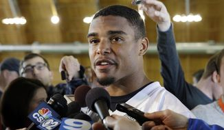 FILE - In this May 16, 2014, file photo, Chicago Bears safety Brock Vereen (45) talks to media during a rookie football minicamp in Lake Forest, Ill. Shane and Brock Vereen talk frequently about their NFL experiences. On Sunday, Oct. 26, 2014, the brothers will have a new one when Shane, the New England Patriots running back, plays against Brock, the Chicago Bears rookie safety. (AP Photo/Nam Y. Huh)