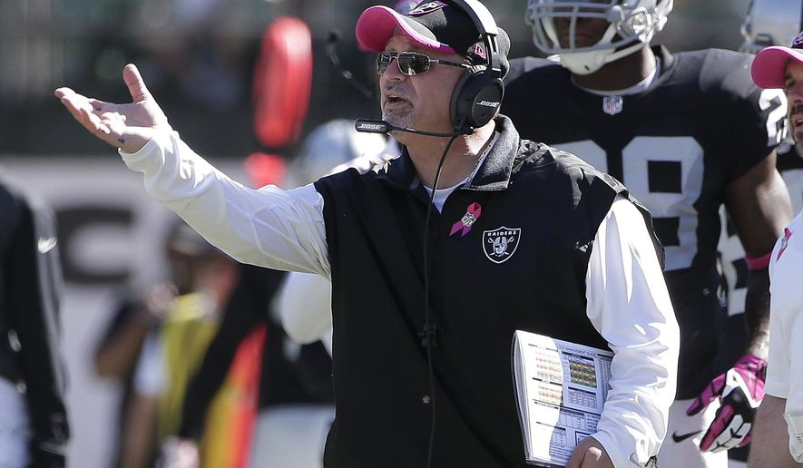 ADVANCE FOR WEEKEND EDITIONS, OCT. 25-26 - FILE - In this Oct. 12, 2014, file photo, Oakland Raiders interim head coach Tony Sparano gestures from the sideline during the second quarter of an NFL football game against the San Diego Chargers in Oakland, Calif.  (AP Photo/Marcio Jose Sanchez, File)