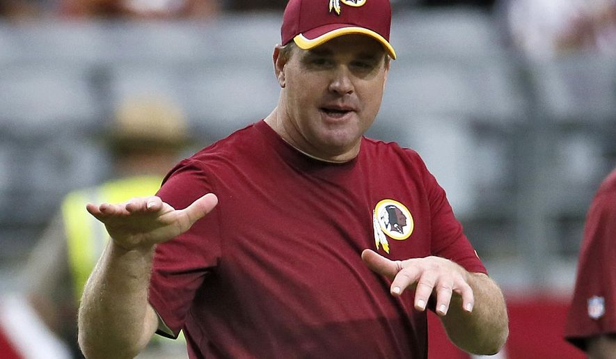ADVANCE FOR WEEKEND EDITIONS, OCT. 25-26 - FILE - In this Oct. 12, 2014, file photo, Washington Redskins head coach Jay Gruden watches his team warm up prior to an NFL football game against the Arizona Cardinals in Glendale, Ariz. Even coaches in their first seasons with their teams are under fire. (AP Photo/Matt York, File)
