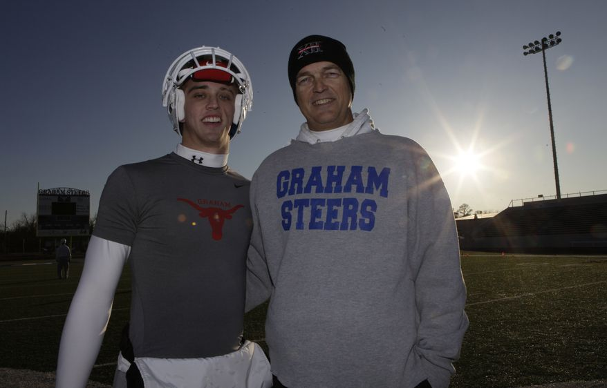 Colt McCoy's father, Brad, is pictured in a Dec. 16, 2009, photo with his son, Case, also a quarterback, in Graham, Texas. (AP Photo/LM Otero)