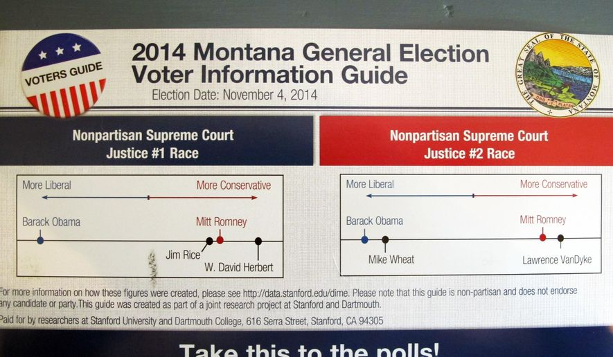 Montana officials said Thursday, Oct. 23, 2014, that they are investigating whether mailers like the one shown violated laws by appearing to come from the state. The mailers are part of a Stanford University and Dartmouth College political science research project, and they rate how liberal or conservative the four nonpartisan candidates for Supreme Court are. (AP Photo/Matt Volz)  officials are investigating whether mailers sent to Montana voters as part of a Stanford University and Dartmouth college less than two weeks before elections broke state laws.