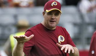 In this Oct. 12, 2014, file photo, Washington Redskins head coach Jay Gruden watches his team warm up prior to an NFL football game against the Arizona Cardinals in Glendale, Ariz. (AP Photo/Matt York, File)