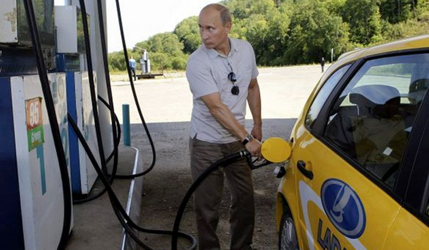 Russian President, Vladimir Putin pumping gas.