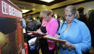 In this Wednesday, Oct. 22, 2014 photo, job seekers Madelin Garcia, right, and Noharis Nunez fill out a job applications at a job fair in Miami Lakes, Fla. The U.S. Labor Department reports on the number of people who applied for unemployment benefits last week on Thursday, Oct. 23, 2014. (AP Photo/Alan Diaz)