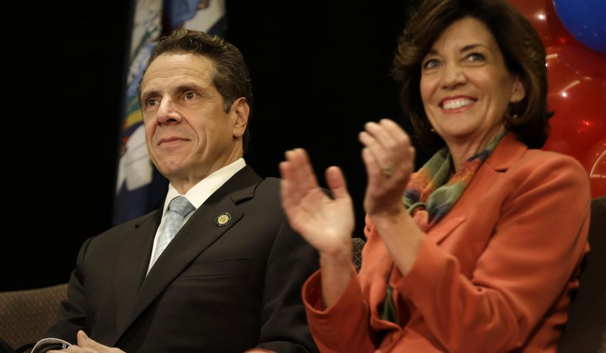 "New York Governor Andrew Cuomo and Lt. Governor nominee Kathy Hochul participate in a ""Women for Cuomo"" campaign event in New York, Thursday, Oct. 23, 2014. Hillary Rodham Clinton is backing Cuomo in his bid for a second term.  Cuomo faces Republican Westchester County Executive Rob Astorino in the Nov. 4 general election. (AP Photo/Seth Wenig)"