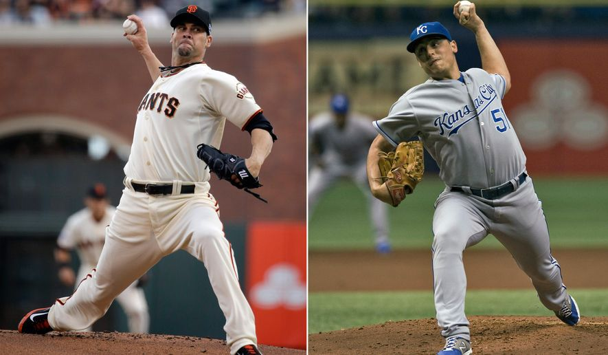 FILE - At left, in an Oct. 15, 2014, file photo, San Francisco Giants' Ryan Vogelsong throws against the St. Louis Cardinals during the first inning of Game 4 of the National League baseball championship series in San Francisco. At right, in a July 8, 2014, file photo, Kansas City Royals' Jason Vargas pitches against the Tampa Bay Rays during the first inning of a baseball game in St. Petersburg, Fla. Vargas faces Vogelsong in Game 4 of baseball's World Series Saturday night, Oct. 25, 2014, in San Francisco. (AP Photo/File)