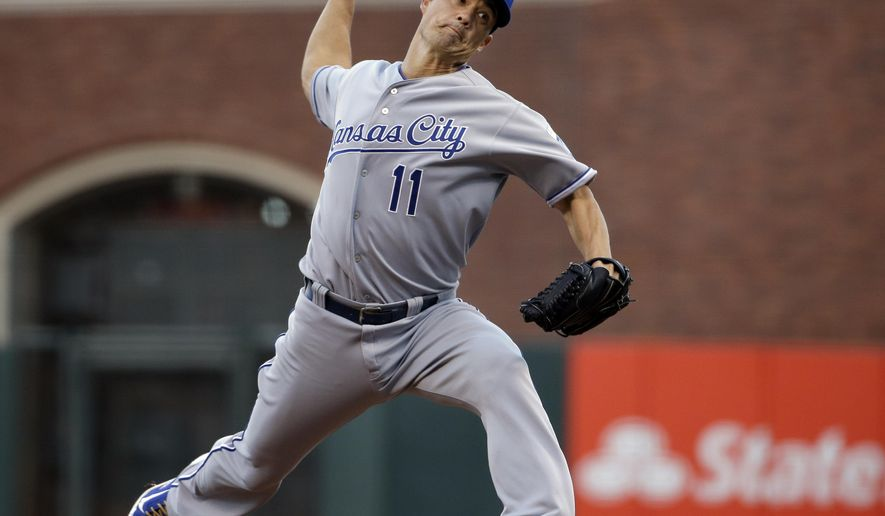 Kansas City Royals pitcher Jeremy Guthrie throws during the first inning of Game 3 of baseball's World Series against the San Francisco Giants Friday, Oct. 24, 2014, in San Francisco. (AP Photo/Matt Slocum)