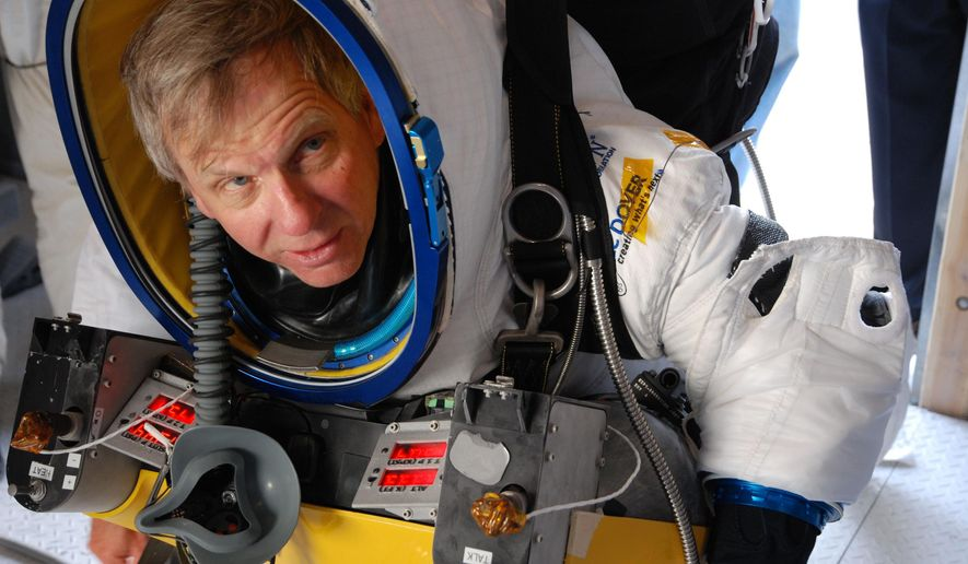 In this Oct. 20, 2014 photo provided by Paragon Space Development Corporation, Google executive Alan Eustace is shown before a test flight for his Friday, Oct. 24, 2014 leap from the edge of space that broke the sound barrier and set several skydiving records over the southern New Mexico desert outside Roswell. Eustace's supersonic jump was part of a project by Paragon Space Development Corp. and its Stratospheric Explorer team, which has been working secretly for years to develop a self-contained commercial spacesuit that would allow people to explore some 20 miles above the Earth's surface.(AP Photo/Paragon Space Development Corporation)