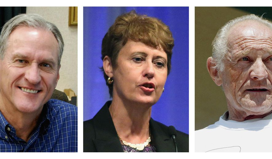 FILE - The combo of file photos shows the South Dakota gubernatorial candidates from left, incumbent Republican Gov. Dennis Daugaard, Democratic state Rep. Susan Wismer and independent Mike Myers. (AP Photos/File)