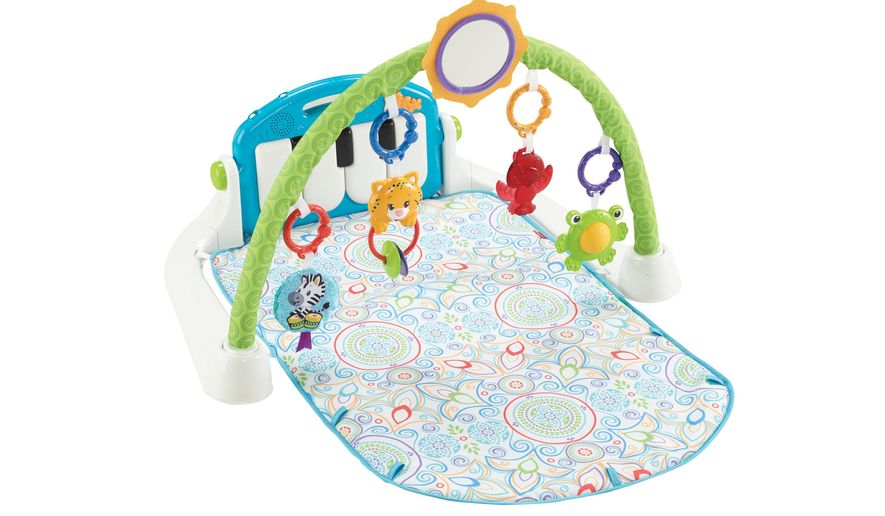 This product image released by Fisher-Price shows the Kick & Play Piano Gym from the Shakira First Steps Collection. Shakira is partnering with Fisher-Price to launch a collection of baby toys. (AP Photo/Fisher-Price)