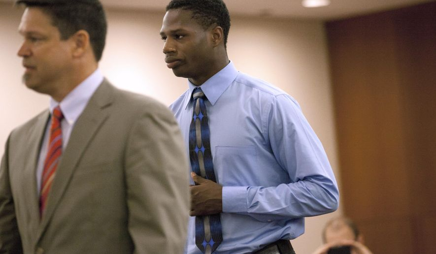 FILE--In this Sept. 8, 2014 file photo, former Michigan wide receiver Csont'e York enters court in Ann Arbor, Mich. York has been sentenced to at least seven days in jail and two years of probation on misdemeanor assault charges Friday, Oct. 24, 2014. York, who appeared in one game as a reserve wide receiver as a freshman last season, enrolled at the University of Toledo after being kicked off the Michigan team. (AP Photo/The Ann Arbor News, Patrick Record) LOCAL TV OUT; LOCAL INTERNET OUT