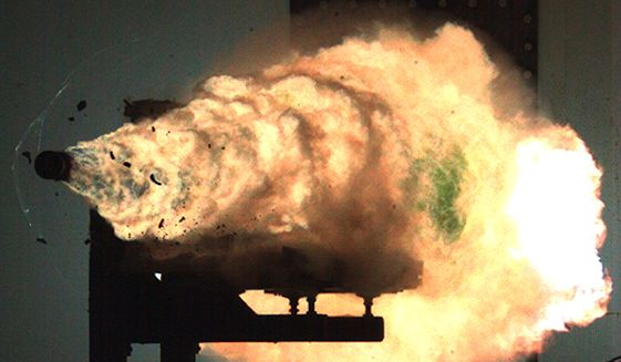 A railgun is test-fired at the Naval Surface Warfare Center in January 2008. (Wikimedia Commons)