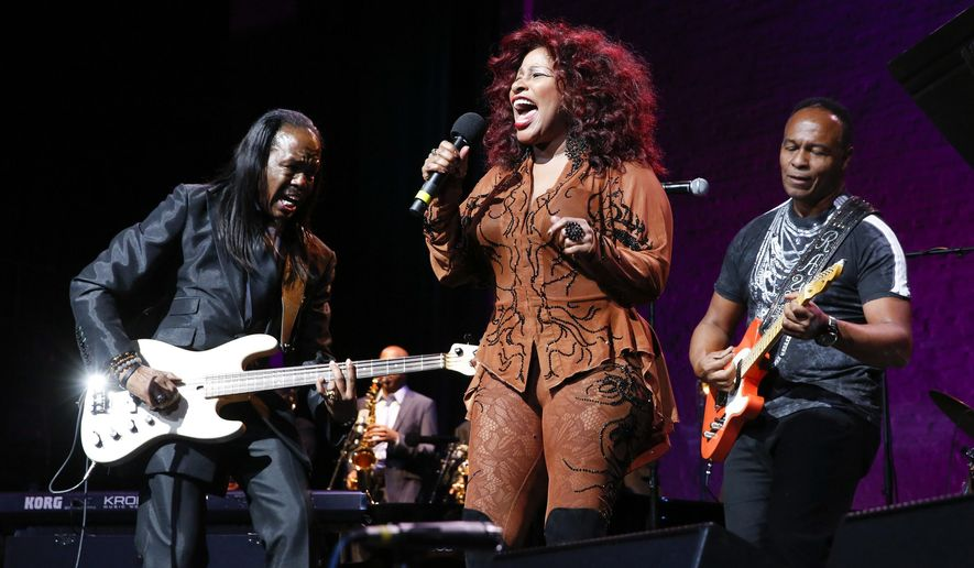 "Vernice White, Chaka Khan, and Ray Parker Jr. perform at the 13th annual ""A Great Night in Harlem"" gala concert, presented by The Jazz Foundation of America to benefit The Jazz Musicians Emergency Fund, at The Apollo Theater on Friday, Oct. 24, 2014, in New York. This year's Lifetime Achievement Award honoree is musician Herbie Hancock. (Photo by Mark Von Holden/Invision/AP)"