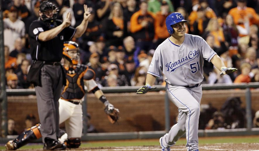 Kansas City Royals' Jason Vargas laughs after he realized the count was 3-2 and not a walk during the third inning of Game 4 of baseball's World Series against the San Francisco Giants Saturday, Oct. 25, 2014, in San Francisco. (AP Photo/David J. Phillip)