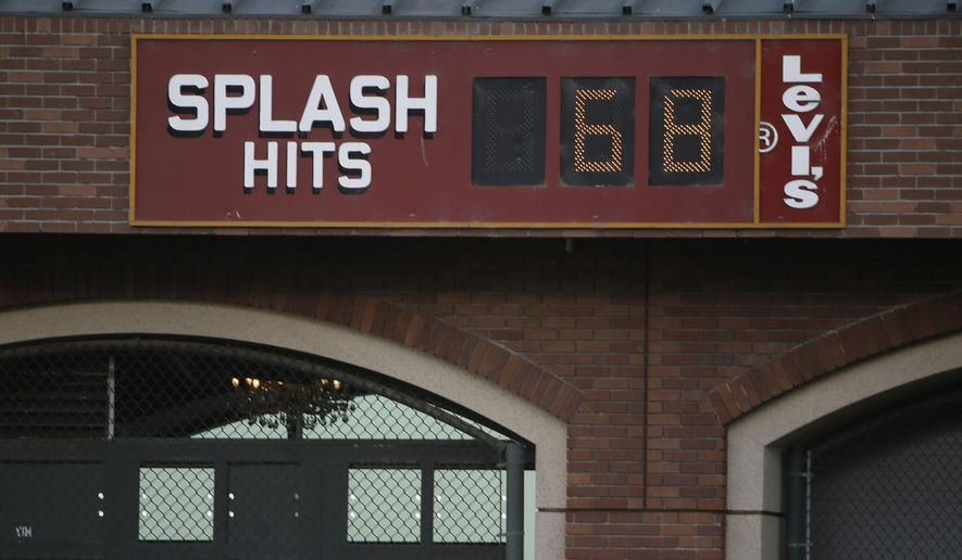 FILE- This Oct. 23, 2014, file photo shows the splash hit counter in right field at AT&T Park in San Francisco. The counter keeps track of how many home runs have landed into McCovey Cove. (AP Photo/Eric Risberg, File)