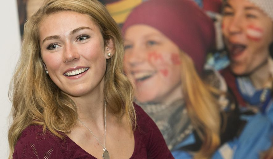 Skiracer Mikaela Shiffrin of the US smiles during the FIS annual Alpine Forum at the alpine skiing World Cup in Soelden, Austria, Friday, Oct. 24, 2014. The alpine skiing World Cup season 2014/2015 will be opened on Oct. 25, 2014 in Soelden. (AP Photo/Keystone, Jean-Christophe Bott)