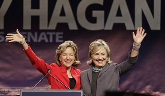 Former Secretary of State Hillary Clinton, right, and Sen. Kay Hagan (D-NC), left, wave to supporters during a campaign rally in Charlotte, N.C., Saturday, Oct. 25, 2014. (AP Photo/Chuck Burton)