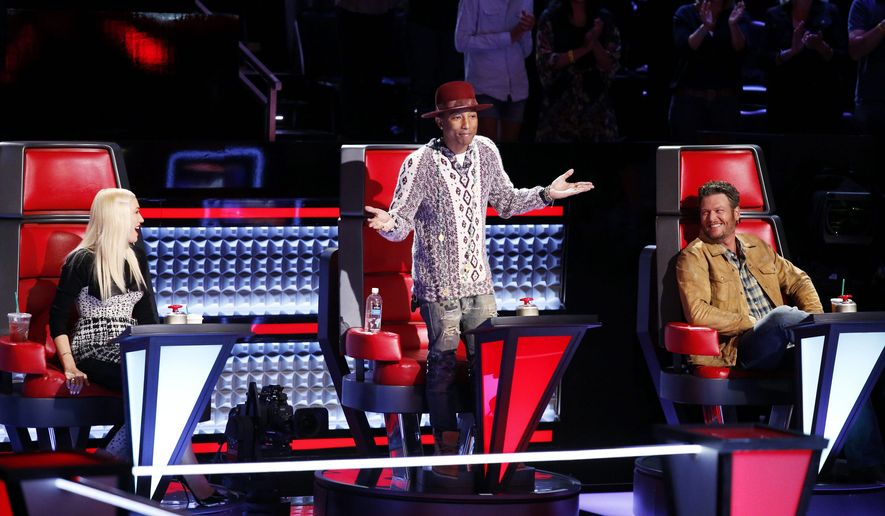 "The producers of NBC's ""The Voice"" built the show around coaches (left to right) Gwen Stefani, Pharrell Williams and Blake Shelton working with mentees who compete for a recording contract. Audrey Morrissey, the show's executive producer, said, ""I think one core value is that we always wanted our coaches to be vibrant, active artists."" (NBC)"