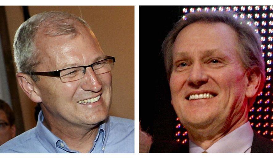 FILE - This combo of file photos shows the candidates for the seat in North Dakota's At-Large District from left, Republican incumbent U.S. Rep. Kevin Cramer and his Democratic challenger George Sinner. (AP Photo/File)