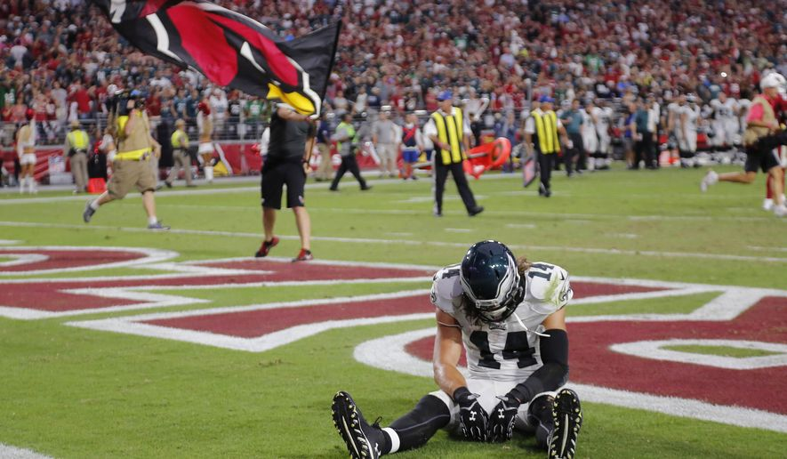 Philadelphia Eagles wide receiver Riley Cooper (14) sits in the end zone after an NFL football game against the Arizona Cardinals, Sunday, Oct. 26, 2014, in Glendale, Ariz. The Cardianls won 24-20. (AP Photo/Rick Scuteri)