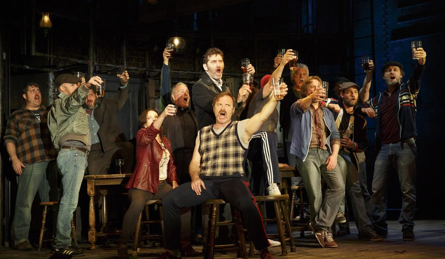 "This photo provided by Sam Rudy Media Relations shows, Jimmy Nail, standing center, and cast in a scene from the play, ""The Last Ship."" The show is Sting's semi-autobiographical story about a prodigal son who returns to his northern England shipbuilding town to reclaim the girl he abandoned when he fled 15 years before. (AP Photo/Sam Rudy Media Relations, Joan Marcus)"
