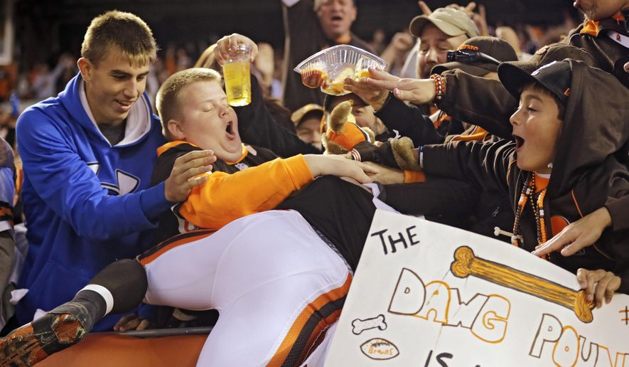 Fans in the Dawg Pound pummel Cleveland Browns wide receiver Andrew Hawkins after he scored on a 4-yard touchdown catch against the Oakland Raiders in the fourth quarter of an NFL football game Sunday, Oct. 26, 2014, in Cleveland. (AP Photo/Tony Dejak)