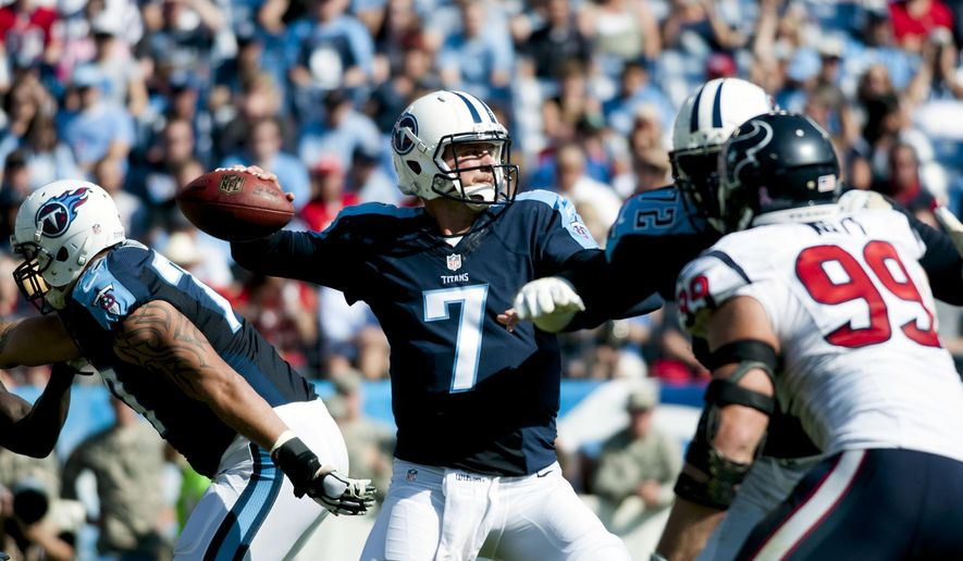 Tennessee Titans quarterback Zach Mettenberger (7) throws a pass during an NFL football game Sunday, Oct. 26, 2014, in Nashville, Tenn. (AP Photo/The Daily News, Austin Anthony)