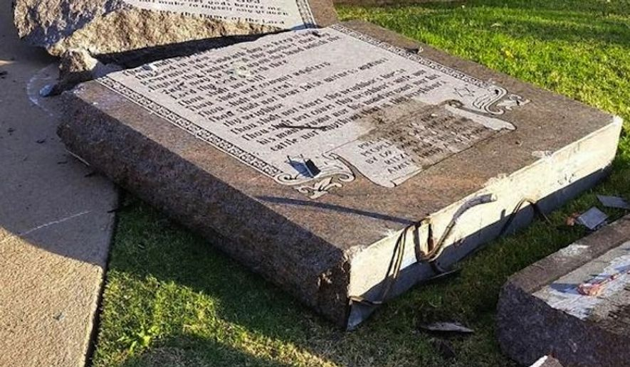 An Oklahoma City man has been arrested and sent for mental evaluation after he crashed his car into a Ten Commandments monument outside the Capitol building and blamed it on Satan. (Twitter/Mary Fallin)