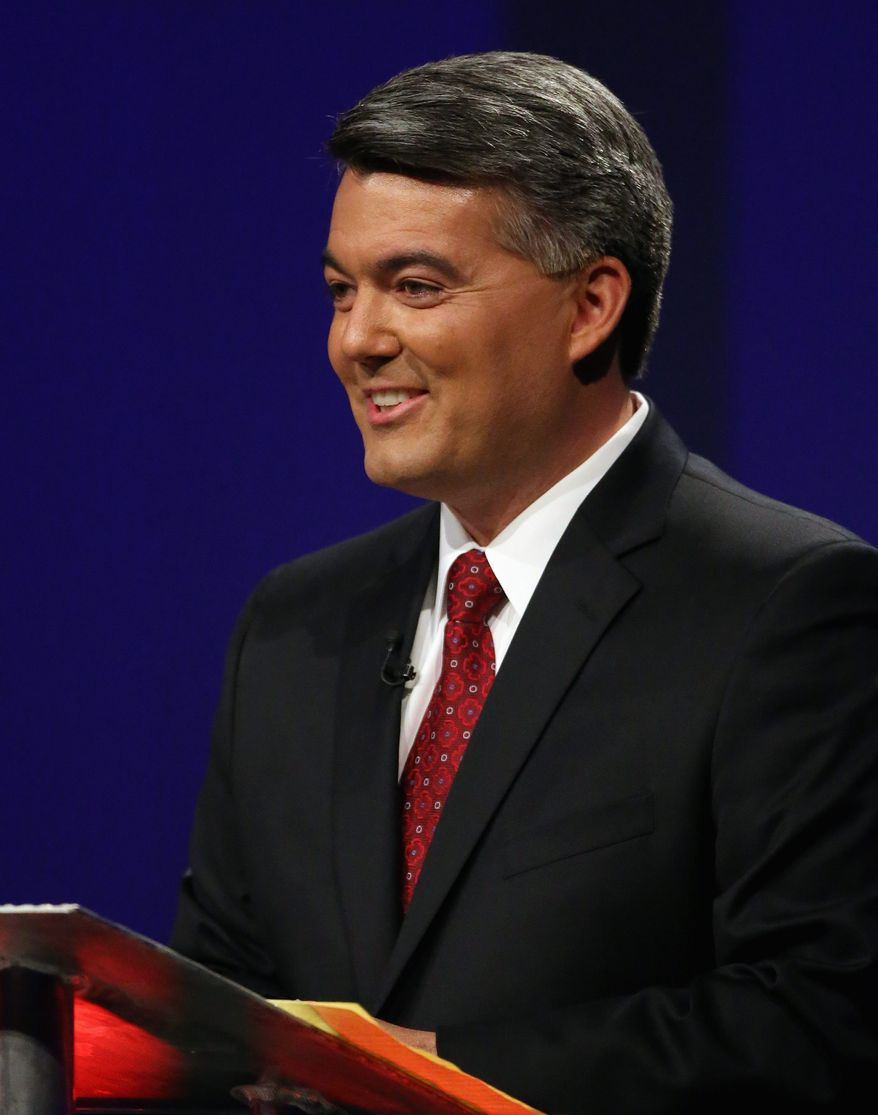 Rep. Cory Gardner, a Republican seeking a U.S. Senate seat in Colorado, has pulled slightly ahead in polls over his Democratic opponent, Sen. Mark Udall. (Associated Press)