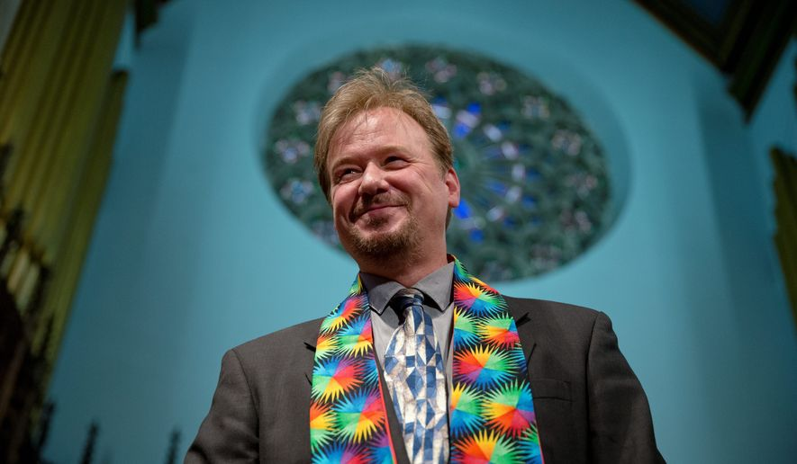 "The Rev. Frank Schaefer, who presided over his son's same-sex wedding ceremony, called a Methodist judicial council's decision to uphold his appeal for reinstatement ""a small but significant step"" toward equality for all within the United Methodist Church. (Associated Press)"