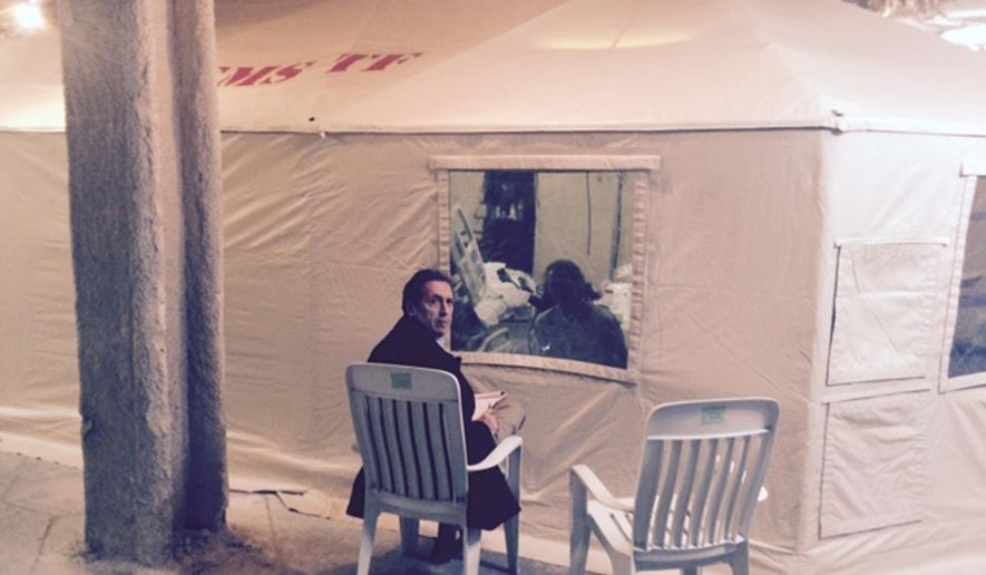 "In this Sunday, Oct. 26, 2014 photo provided by attorney Steven Hyman, quarantined nurse Kaci Hickox meets with the prominent New York civil rights attorney Norman Siegel, seated, at the isolation tent at University Hospital in Newark, N.J., where Hickox was confined after flying into Newark Liberty International Airport following her work in West Africa caring for Ebola patients. Hickox, the first person forced into a mandatory quarantine in the state, was released Monday but has complained about her treatment. Following her release Siegal said  ""We are pleased that the state of New Jersey has decided to release Kaci. They had no justification to confine her,"" and added that she has not ruled out legal action. (AP Photo/Steven Hyman) MANDATORY CREDIT"