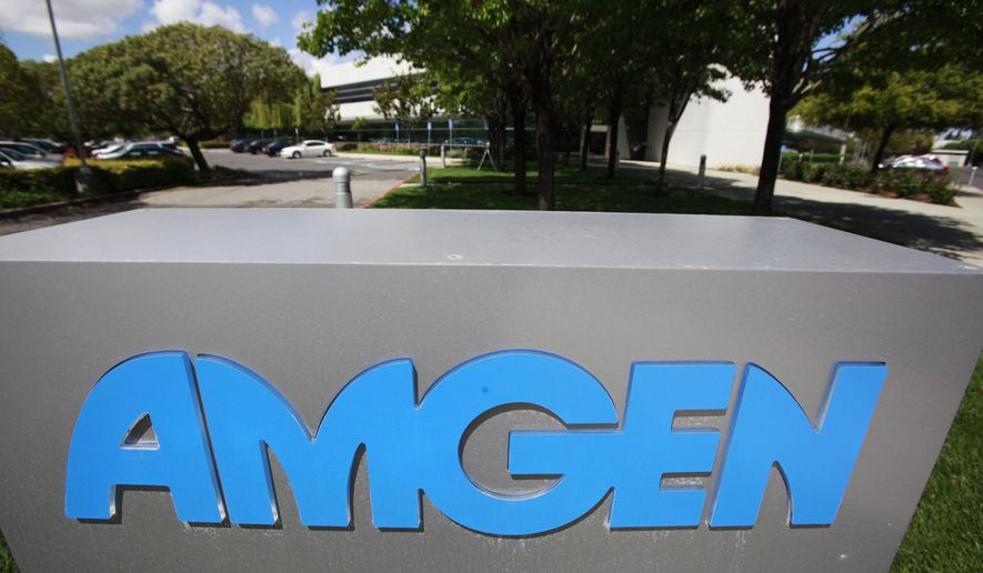 FILE - This April 20, 2010 file photo shows an exterior view of Amgen offices in Fremont, Calif. Amgen Inc. reports quarterly financial results Monday, Oct. 27, 2014. (AP Photo/Paul Sakuma, File)