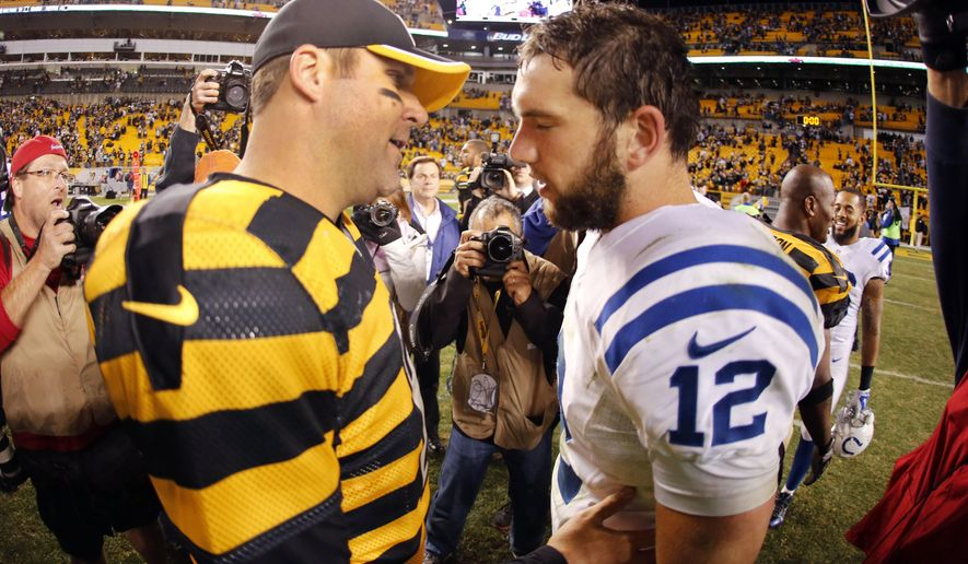 Pittsburgh Steelers quarterback Ben Roethlisberger, left, talks with Indianapolis Colts quarterback Andrew Luck (12) after an NFL football game in Pittsburgh, Sunday, Oct. 26, 2014. The Steelers won 51-34 with Roethlisberger throwing for six touchdowns. (AP Photo/Gene J. Puskar)