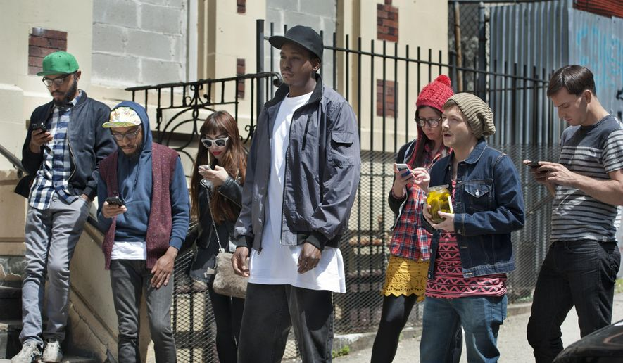 """In this image released by TruTV, from left, Kenny Lucas, Keith Lucas , Kevin Barnett, center, Jennifer Bartels and Josh Rabinowitz appear in a scene from """"Friends of the People,"""" premiering Tuesday at 10:30 p.m. EDT (AP Photo/TruTV)"""