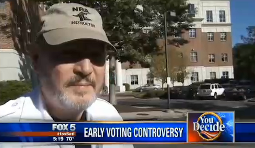 Bundy Cobb, who is certified by the National Rifle Association in firearms training, is upset after he went for early voting in Douglas County, Georgia, on Friday and was ordered to remove his National Rifle Association hat before he was allowed to vote. (My Fox Atlanta)