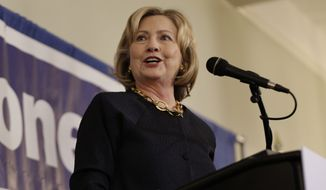 "Former Secretary of State Hillary Rodham Clinton speaks during a ""Women for Maloney"" event in Somers, N.Y., Monday, Oct. 27, 2014. Clinton was there to support Rep. Sean Maloney who is running against Nan Hayworth in New York's 18th congressional district. (AP Photo/Seth Wenig) ** FILE **"