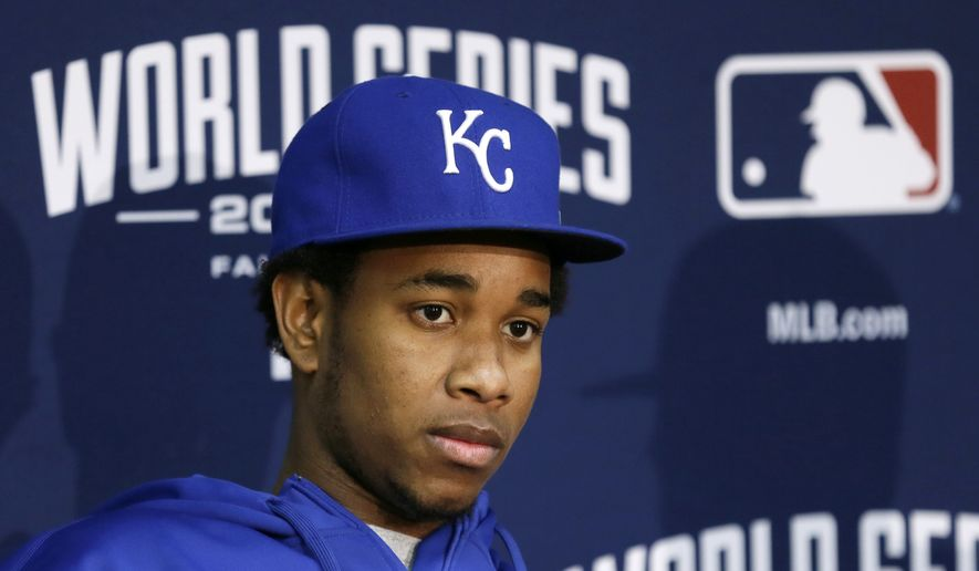 Kansas City Royals pitcher Yordano Ventura speaks during a news conference, Monday, Oct. 27, 2014, in Kansas City. The Royals and the San Francisco Giants are scheduled to play Game 6 of the baseball World Series in Kansas City on Tuesday. (AP Photo/Charlie Neibergall)