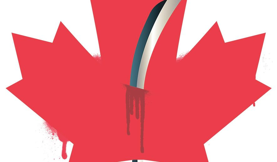 Illustration on terrorist violence in Canada by Linas Garsys/The Washington Times