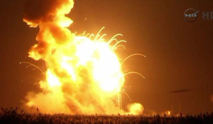 The unmanned Orbital Sciences Corporation Antares rocket, with the Cygnus spacecraft onboard, explodes seconds after launch from Wallops Island, Virginia, on Oct. 28, 2014 (Screengrab via NASA TV)