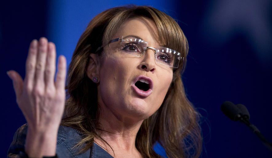 In this Sept. 26, 2014, file photo, former Alaska Gov. Sarah Palin and former vice presidential candidate speaks in Washington. (AP Photo/Manuel Balce Ceneta, File)