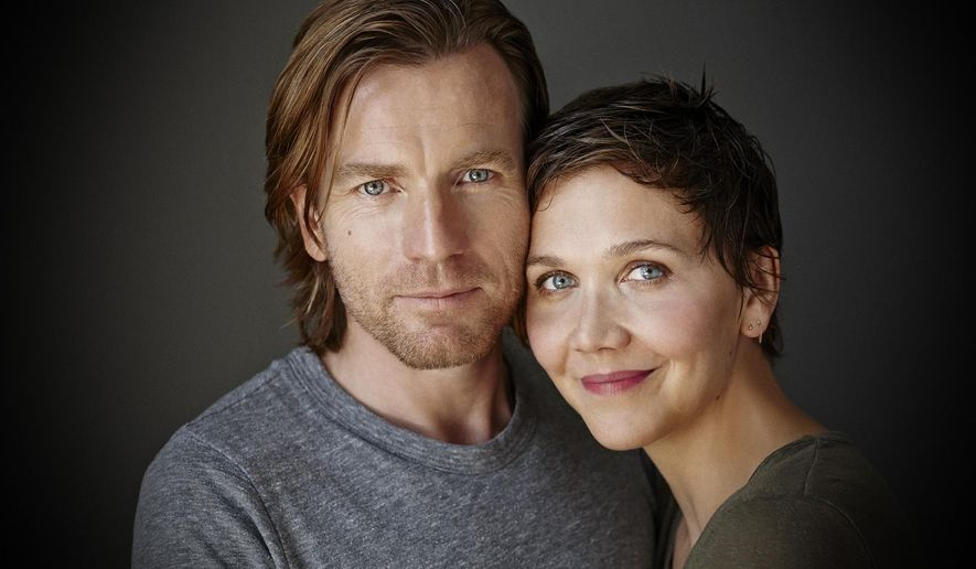 "This photo provided by Roundabout Theatre Company shows Ewan McGregor, left, and Maggie Gyllenhaal, who star in Tom Stoppard's play, ""The Real Thing,"" at American Airlines Theatre opening Thursday, Oct. 30, 2014, in New York. The actors are making their Broadway debut playing lovers.  (AP Photo/Roundabout Theatre Company, Richard Phibbs)"