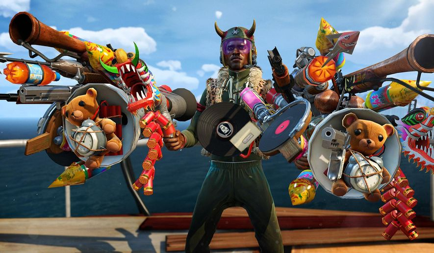 "This photo provided by Microsoft shows a scene from the video game, ""Sunset Overdrive.""  (AP Photo/Microsoft)"