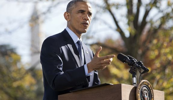 "President Barack Obama speaks to the media about Ebola, Tuesday, Oct. 28, 2014, on the South Lawn of the White House in Washington before leaving for Wisconsin for a campaign trip. The president said the US can't be seen as shying away from battle against Ebola. Obama did not directly criticize quarantine policies for returning health care workers implemented in New York and New Jersey. But he says the response to Ebola needs to be sensible and ""based on science,"" while supporting health care workers going overseas to fight the disease. (AP Photo/Jacquelyn Martin)"